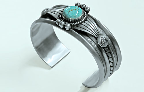 Sterling Silver #8 Turquoise Bracelet - by Teddy Draper, Jr