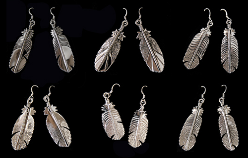 Sterling Silver Feather Earrings - Teddy Draper, Jr..