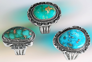 All Sterling Silver Rings / Top: Carico Lake Turquoise / Left: Damali Turquoise / Right: Morenci Turquoise
