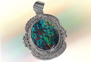 Sterling Silver /  Nevada Gem Turquoise Pendant