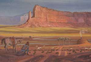 Navajo Sheepherder, Pastels, 31 x 43 inches framed and matted